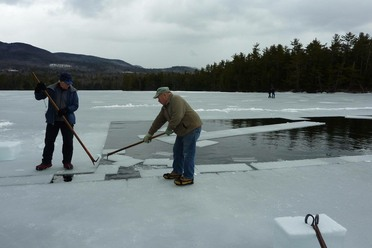Pushers on Squam Lake during this year's ice harvest.