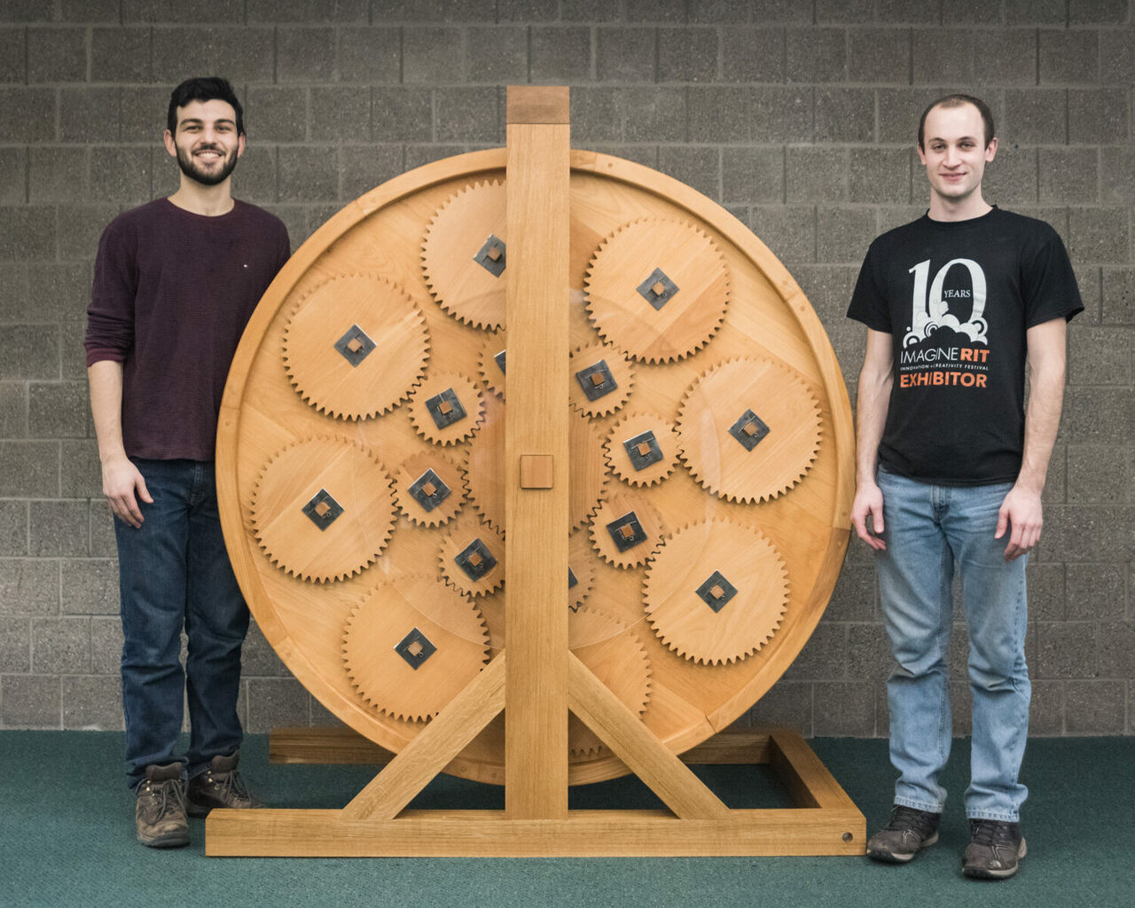Ian Kurtz and Reese Salen (pictured) built the bookwheel with fellow RIT engineering students Matt Nygren and Maher Abdelkawi.