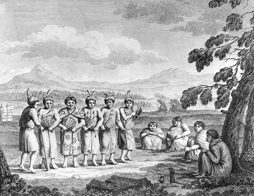 A depiction of a group of Tlingit people performing a war dance before the 1802 attack on the Russian trading post.