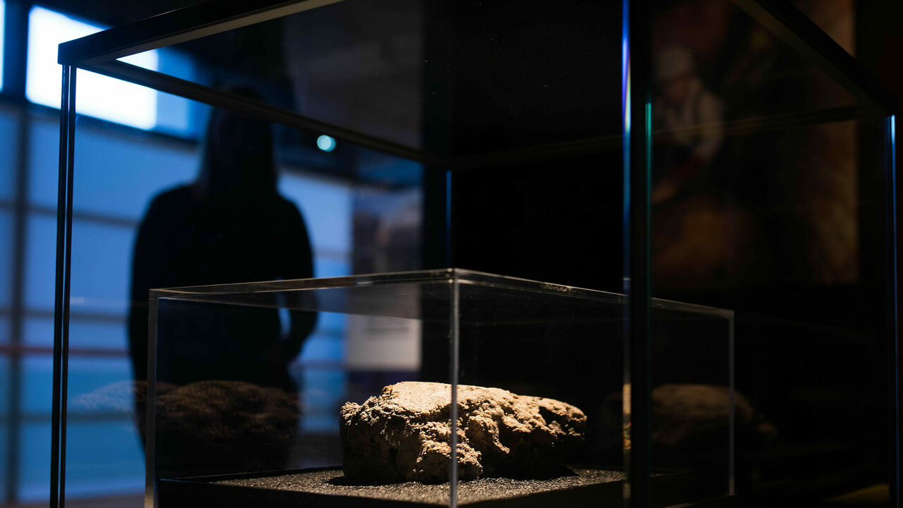 Visitors can view a slice of the fatberg from behind two layers of protective glass.