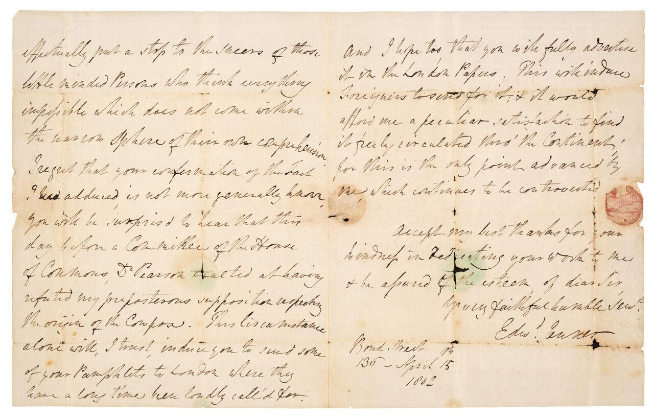 Edward Jenner's letter to John Glover Loy.