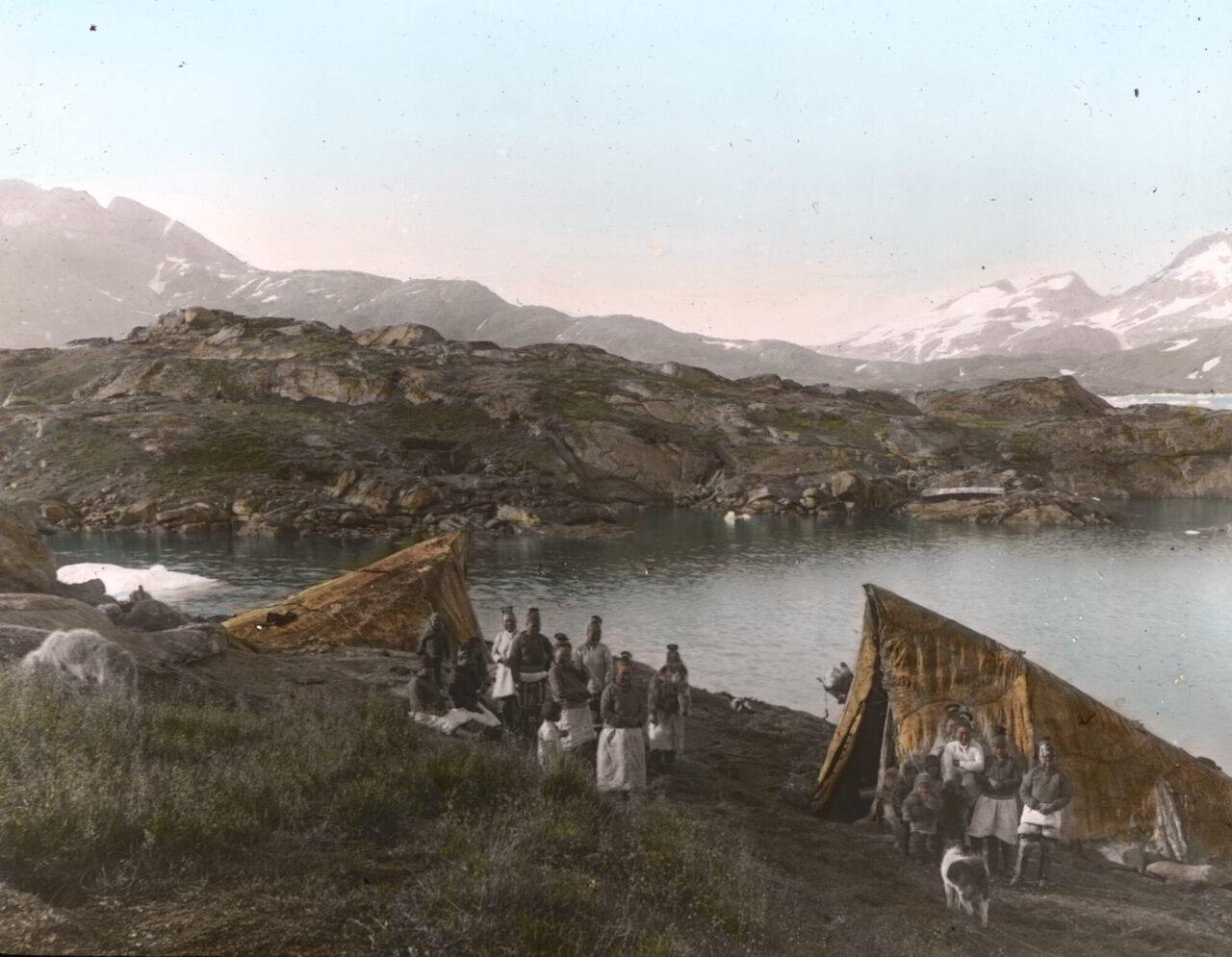 Summer tents at Ammassalik, East Greenland, 1904.