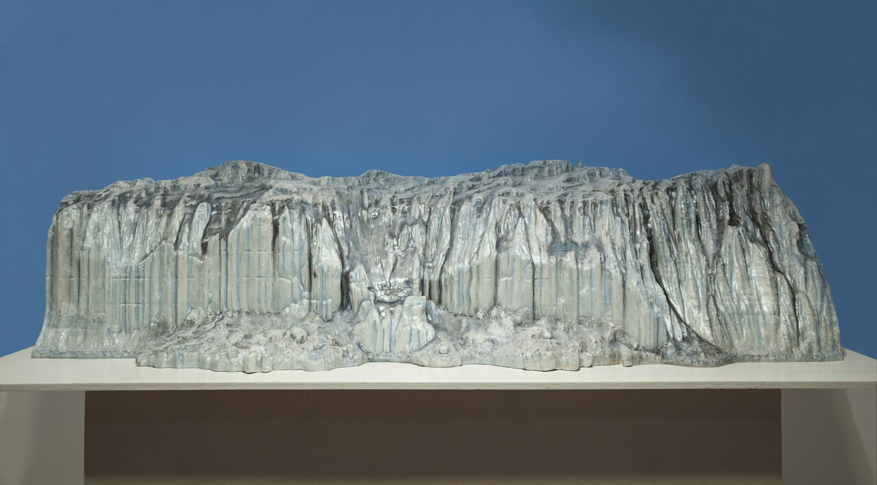 A scale model of a section of Antarctica's Canada Glacier, as viewed from the Lake Fryxell side. The model is about five feet long.*