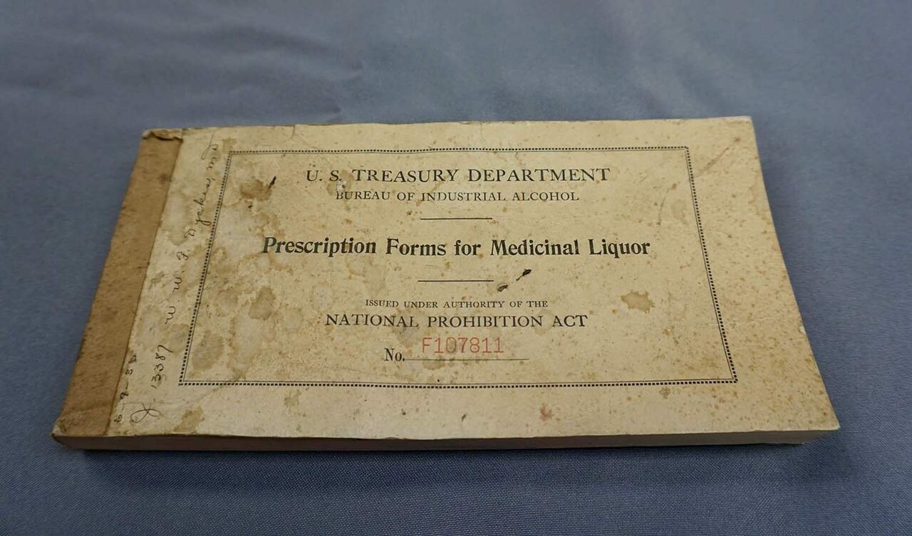 Official prescription pad for medicinal alcohol issued to Dr. W.W.F. Dykes, 1933.