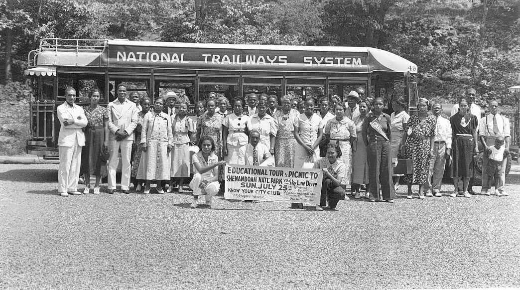 A bus tour visited Shenandoah National Park's segregated facilities, ca. 1950.