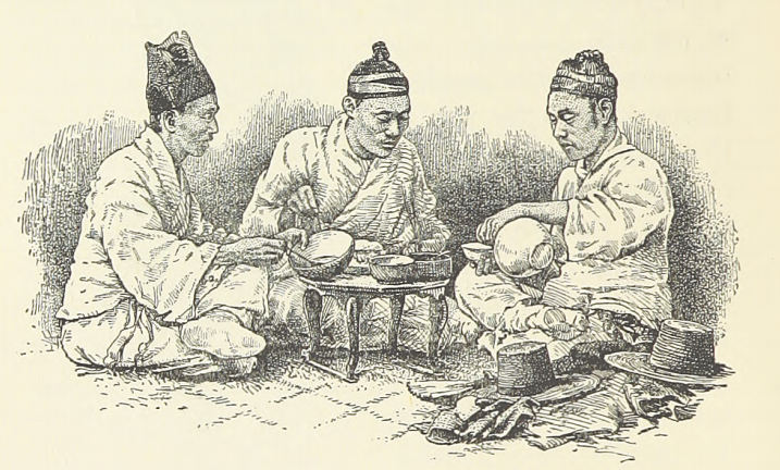 "This illustration, captioned ""Korean peasants at dinner,"" shows a convivial meal."