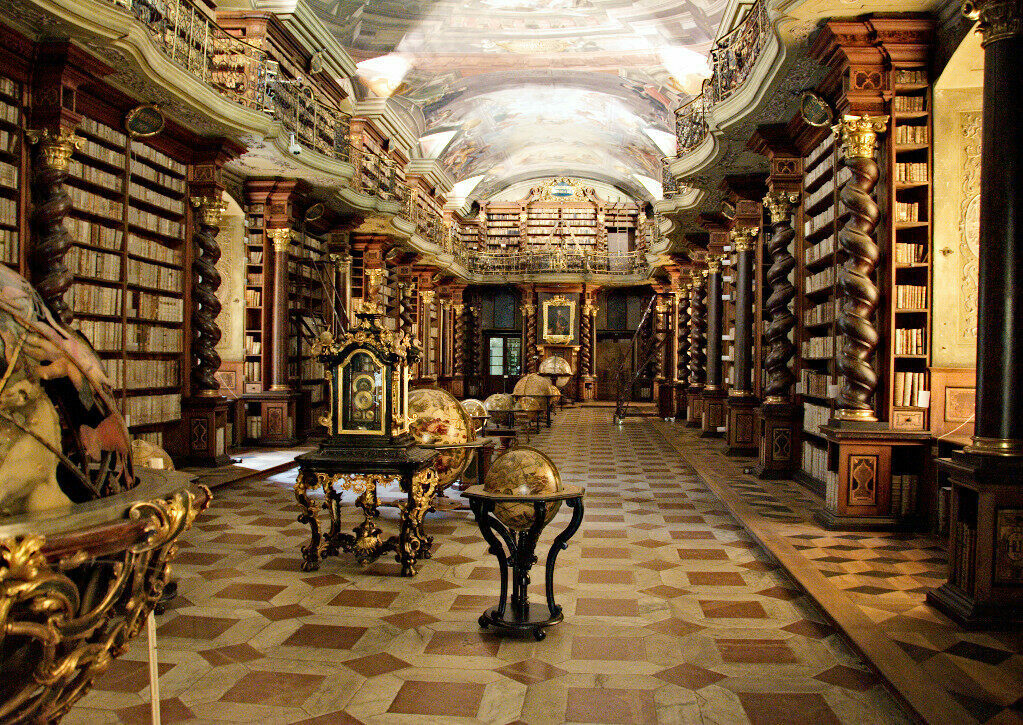 Behold the bonkers, baroque design of the Klementinum Library in Prague.