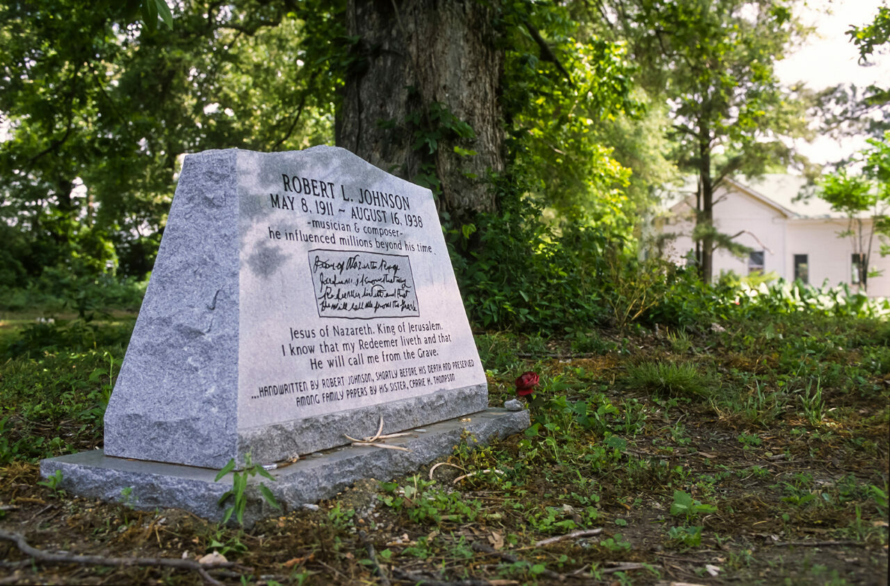 The Johnson memorial at Little Zion Church in Greenwood, Mississippi, where most sources indicate he is buried.
