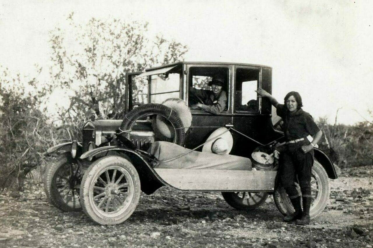 Susie Keef Smith and Lula Mae Graves on the Bradshaw Trail in 1930.