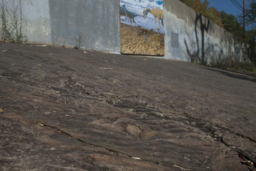 The ripples are plainly visible beside dinosaur tracks. A new mural above showcases both.