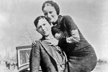 Bonnie and Clyde with their 1932 Ford V8, circa 1932-1934.