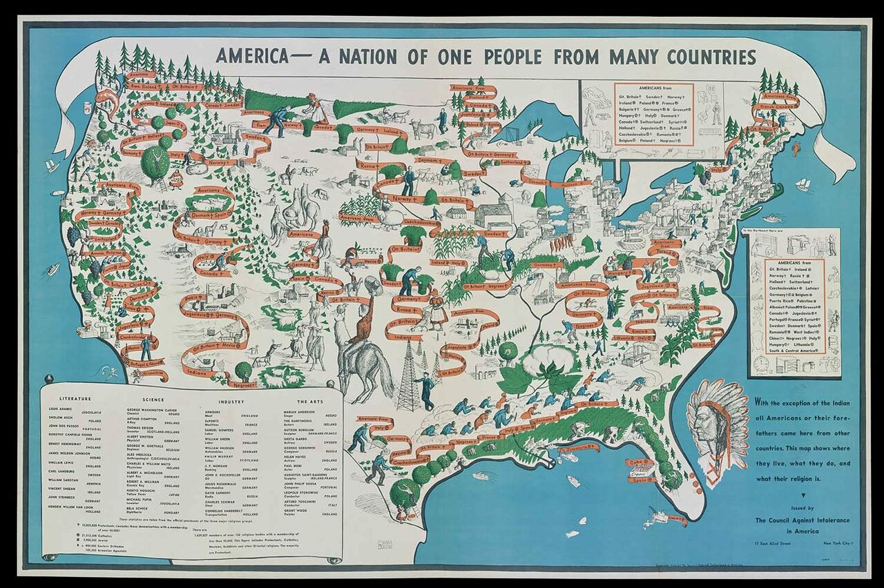 """America—A Nation of One People From Many Countries,"" by Emma Bourne published in 1940 by the Council Against Intolerance in America."