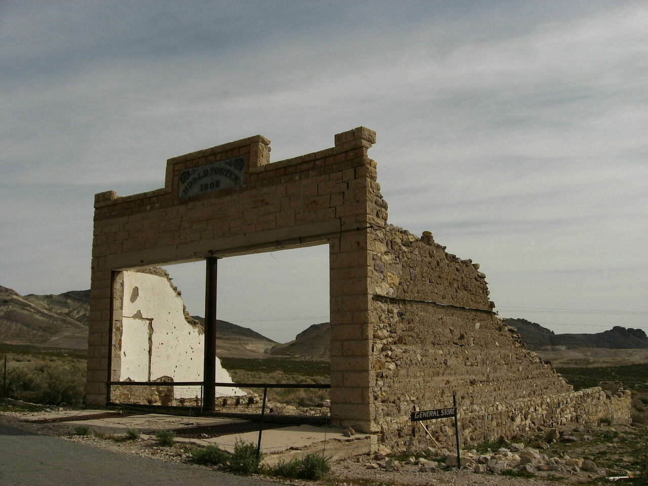 The ruins of a general store in Rhyolite, one of Nevada's better known ghost towns.
