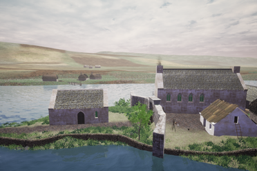 The Great Hall and the Lord's Quarters in the virtual reconstruction.