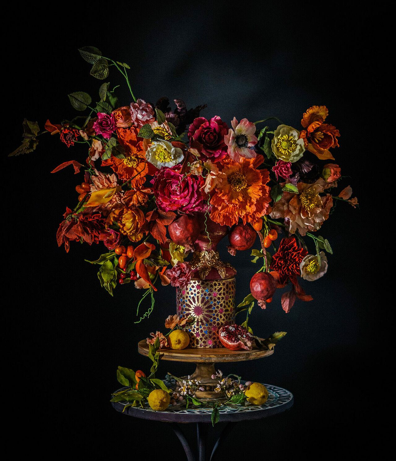Simon's cakes evoke the baroque still-lifes of Dutch Masters such as Ambrosius Bosschaert.