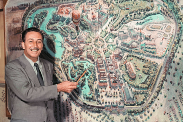 Walt Disney described his park on television in 1954. It was designed like many cities, with spokes emanating from a hub.