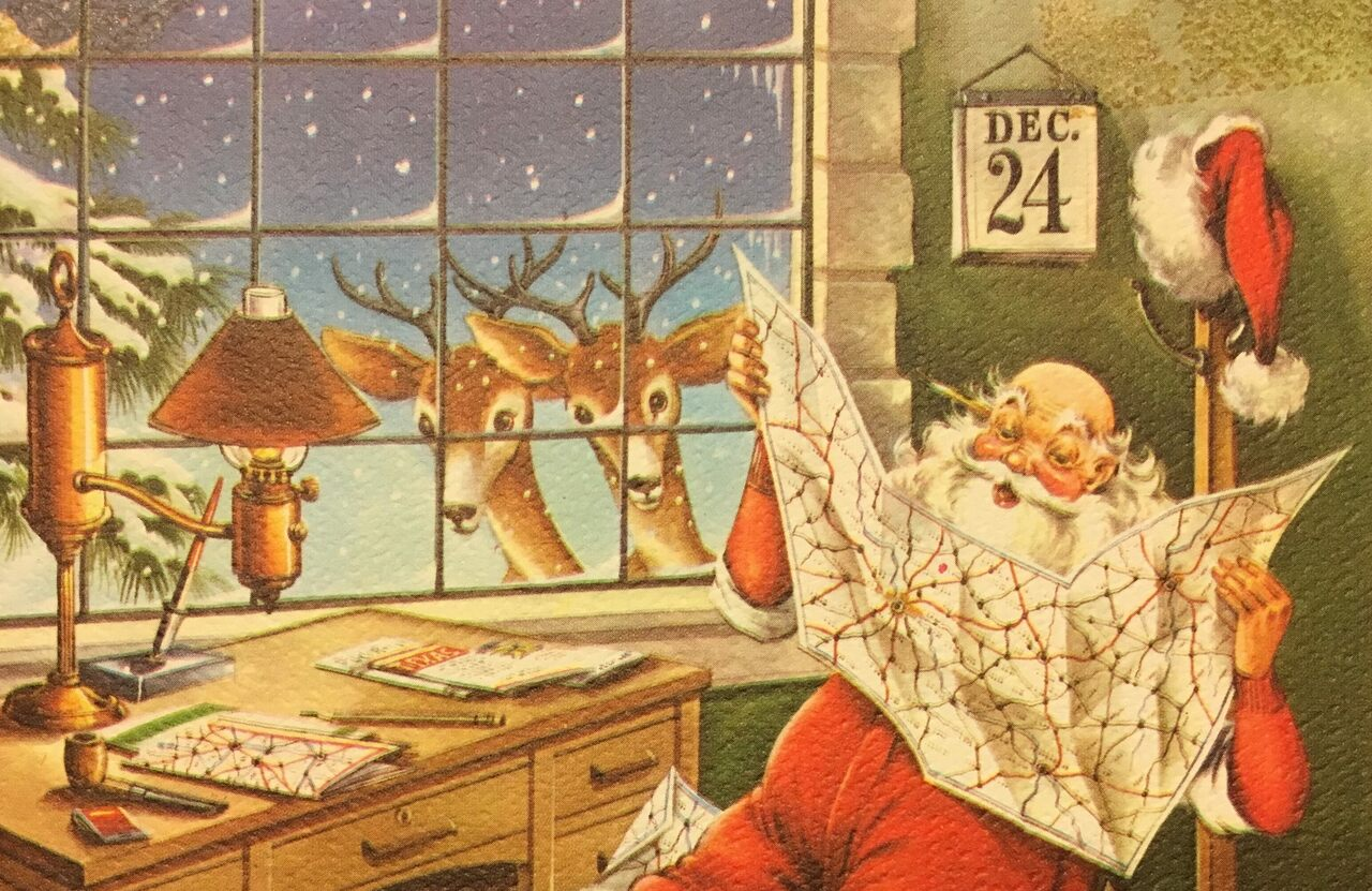 Santa plotting his route, from a holiday card in the New York Public Library collection.
