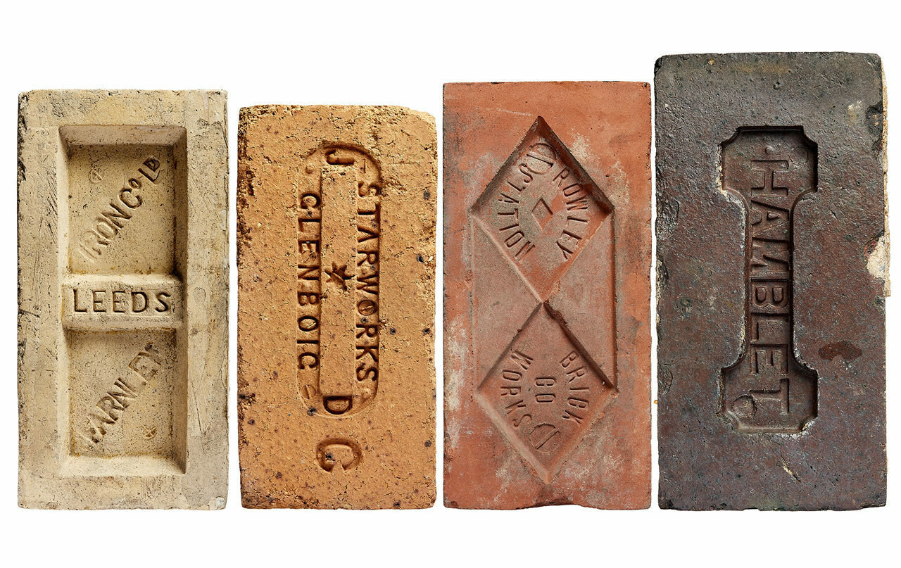 Devoted collectors are often drawn to bricks with striking typography and design. These appeared in Patrick Fry's <em>Brick Index</em>.