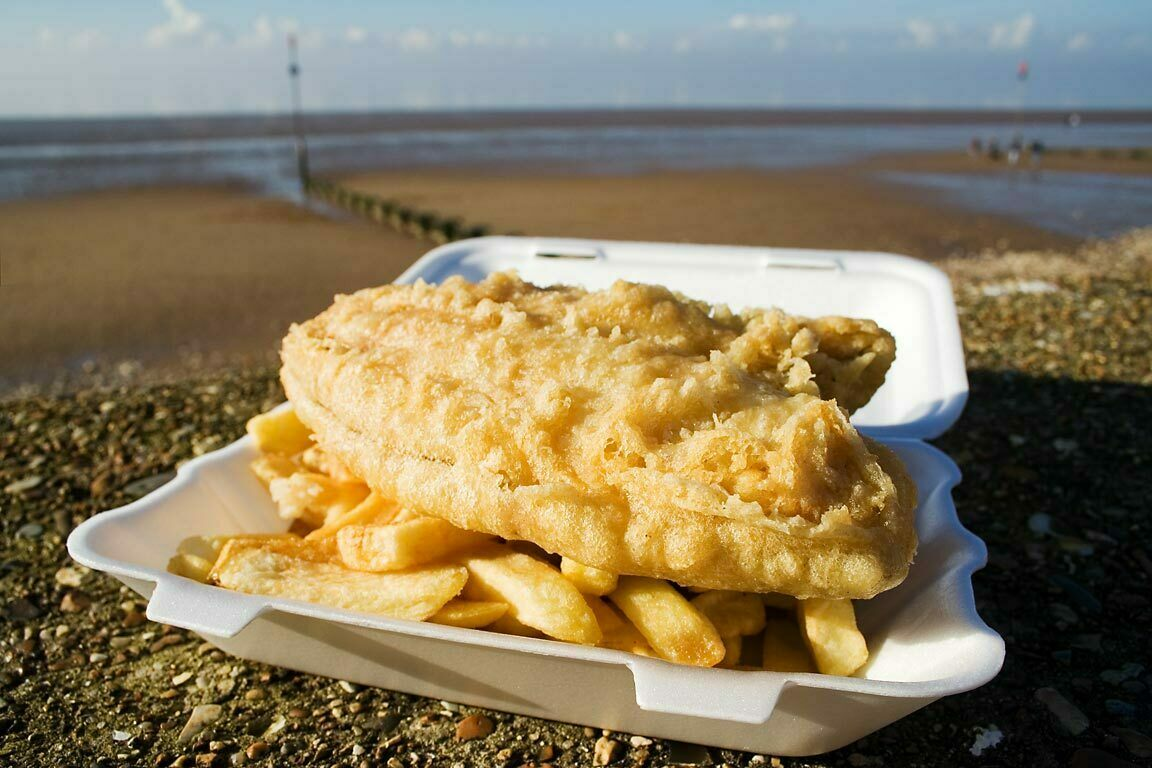Fish and chips by the sea at Hunstanton, Norfolk.