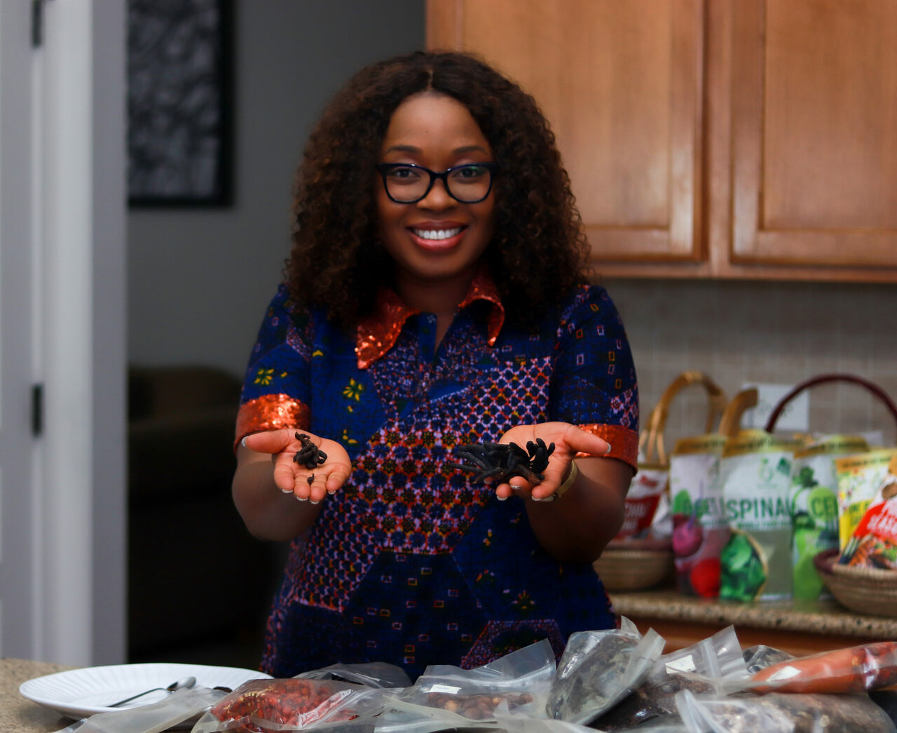Iya Foods founder Toyin Kolawole showcases the company's Nigerian-inspired spices and seasonings.