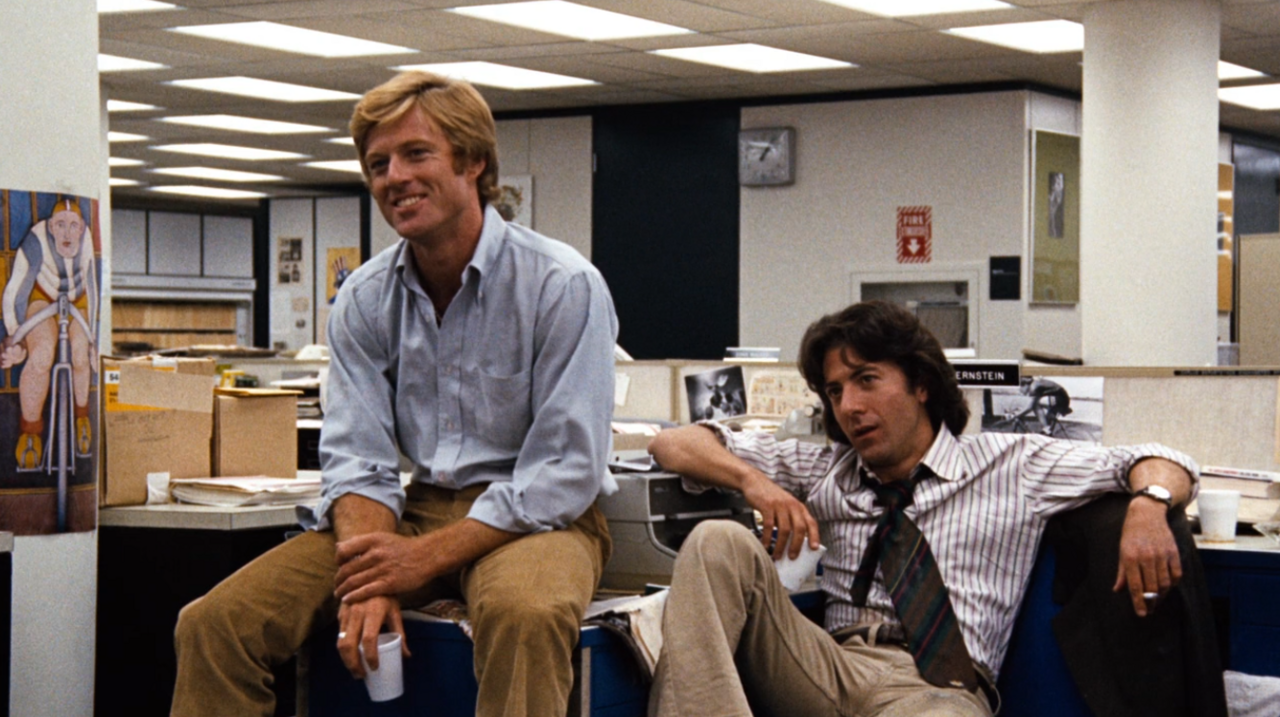 "Robert Redford and Dustin Hoffman in ""All The President's Men""."