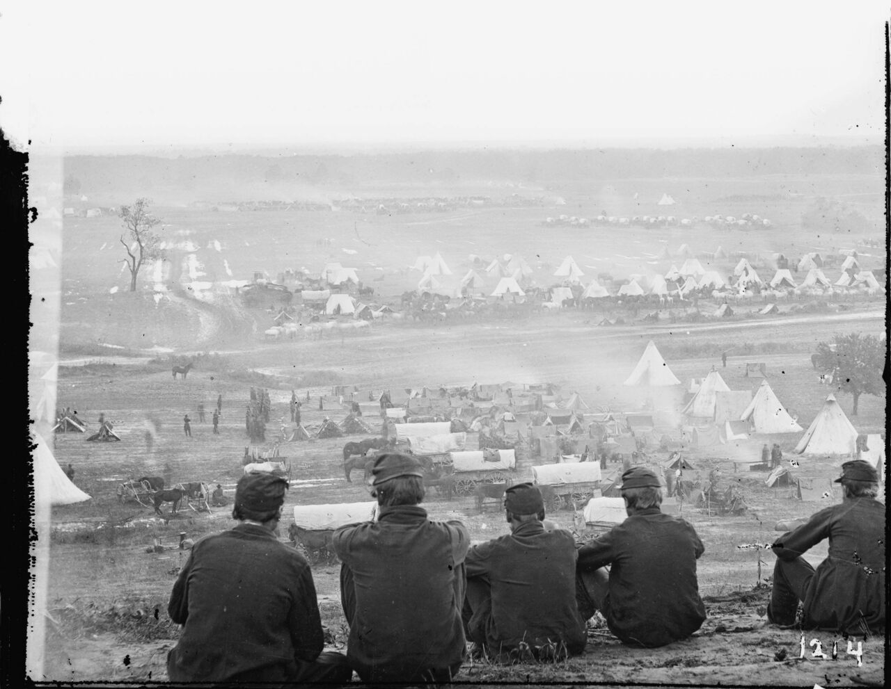 Photograph from the main eastern theater of the Civil War, the Peninsular Campaign, Cumberland Landing, Virginia, c. 1862.
