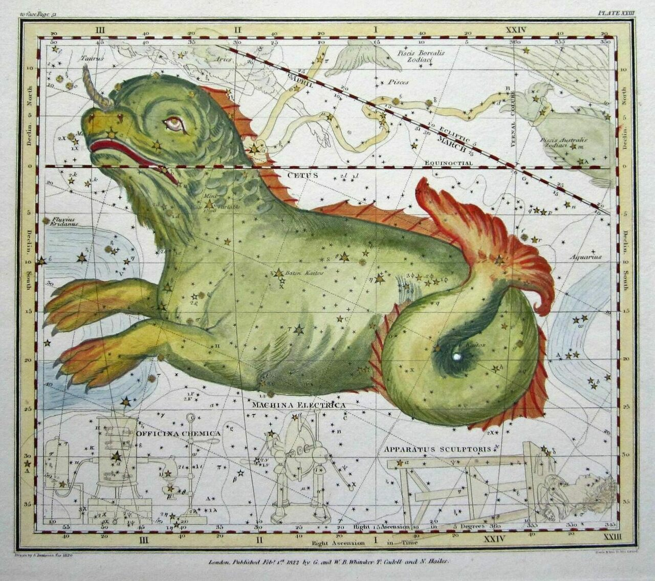 Jamieson's <em>Celestial Atlas</em>, from 1822, included many creatures from Greek mythology, including Cetus, a sea monster.