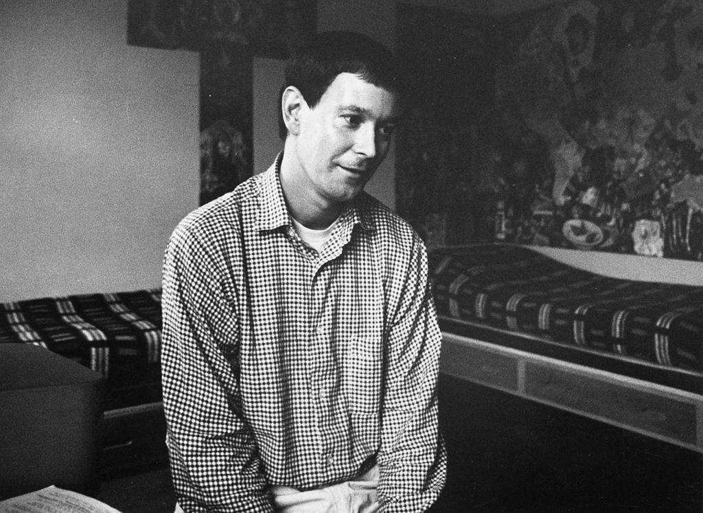Joe Orton at home in Islington, London, 1966.