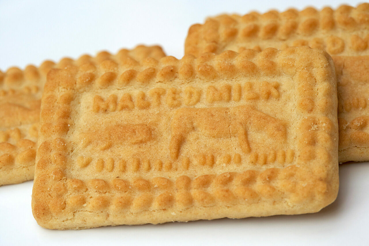Malted milk biscuits are a popular tea companion.