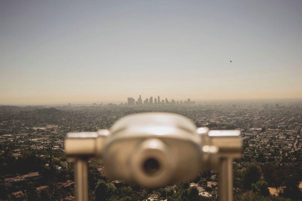 The view from a Griffith Observatory telescope viewfinder.