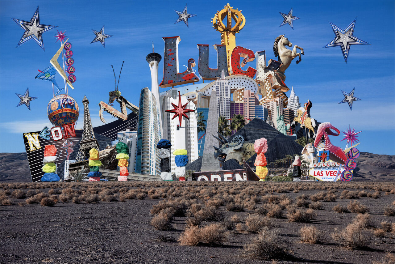 <em>Vacation Delirium</em> by Francesca Berrini and Lindsey Rickert uses original photography and found ephemera to capture Las Vegas' idiosyncratic luster by way of a traditional postcard.