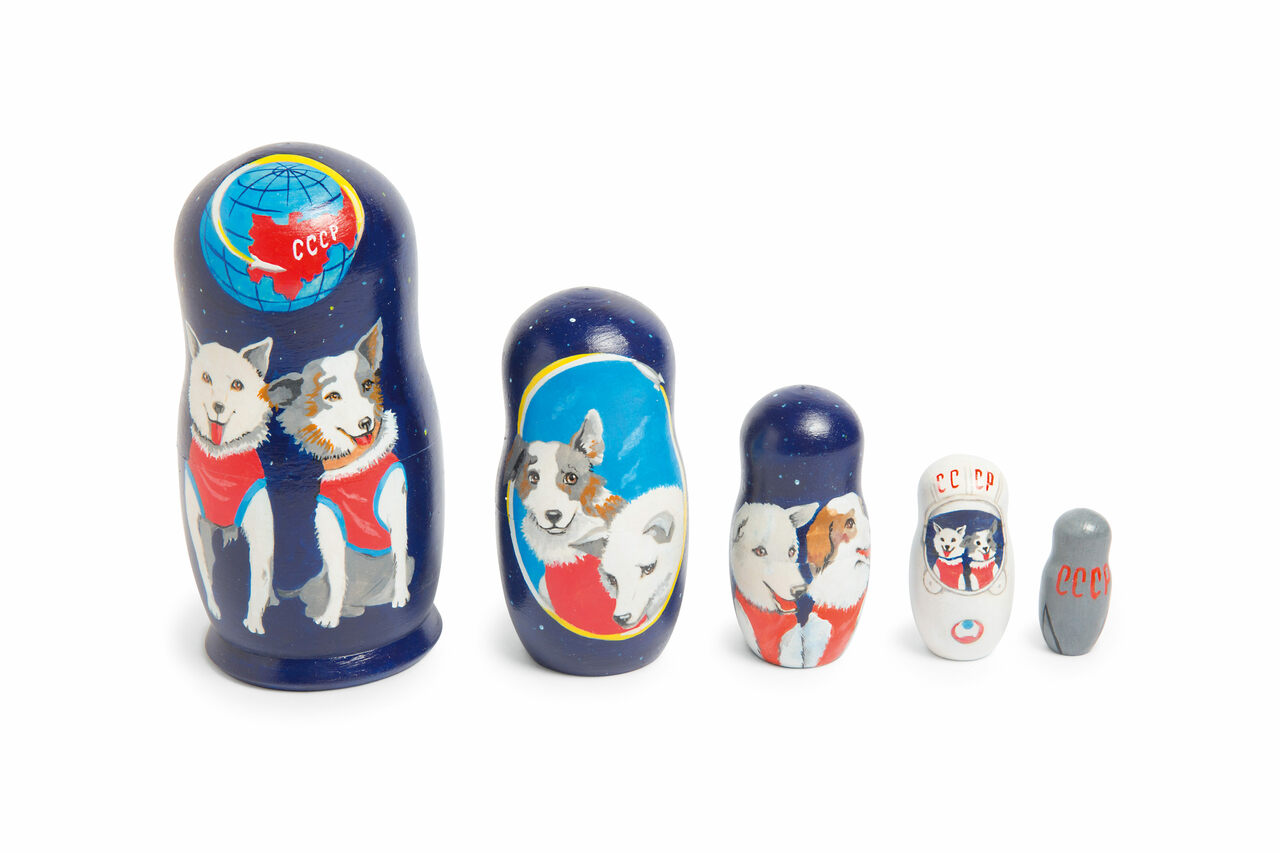 Space dogs inspired a set of wooden nesting dolls, known as <em>matryoshka</em>. The largest here is six inches tall.