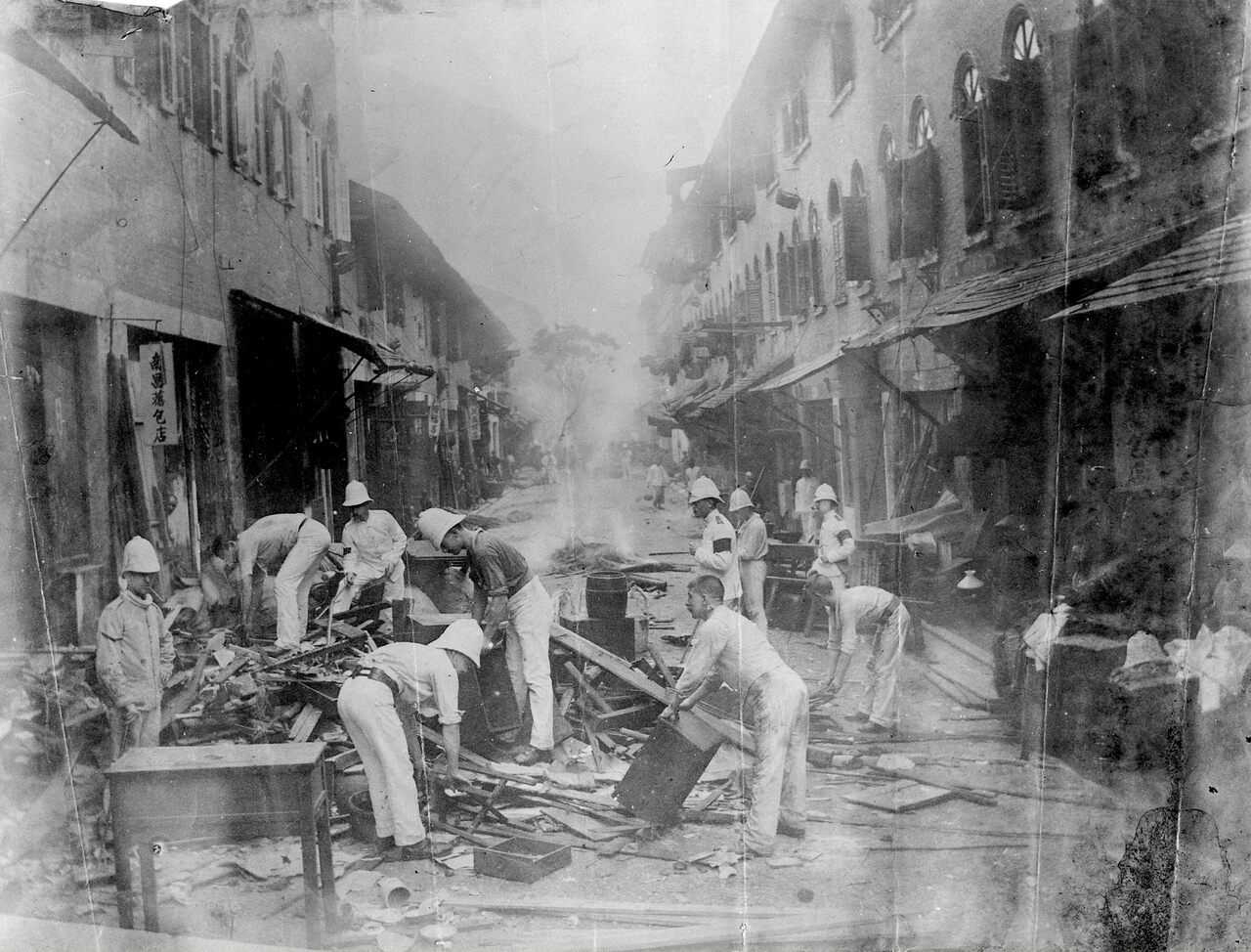 The Shropshire Regiment amid the destruction of homes in Hong Kong, 1894.
