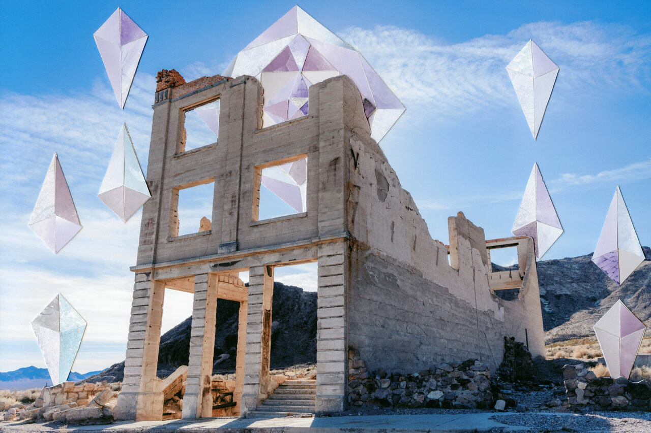 <em>Solarized Rhyolite</em> by Francesca Berrini and Lindsey Rickert portrays Rhyolite's past and present as a boomtown gone bust via collage rendered as a postcard.
