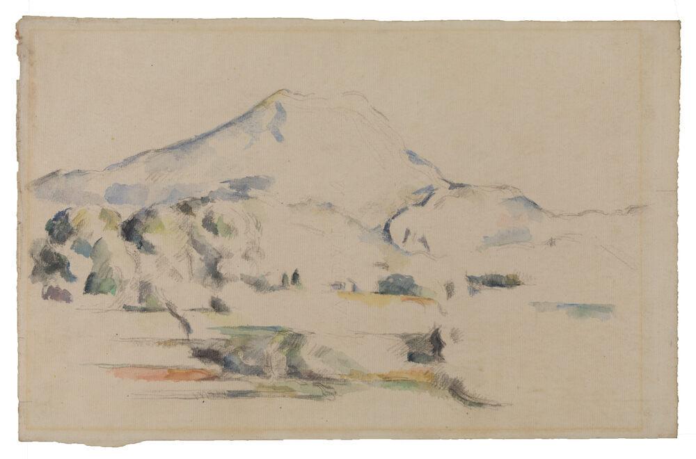 Nice mountain, but check out the edges. Paul Cézanne, <em>La Montagne Sainte-Victoire</em> (c.1885–87), The Courtauld Gallery, London.