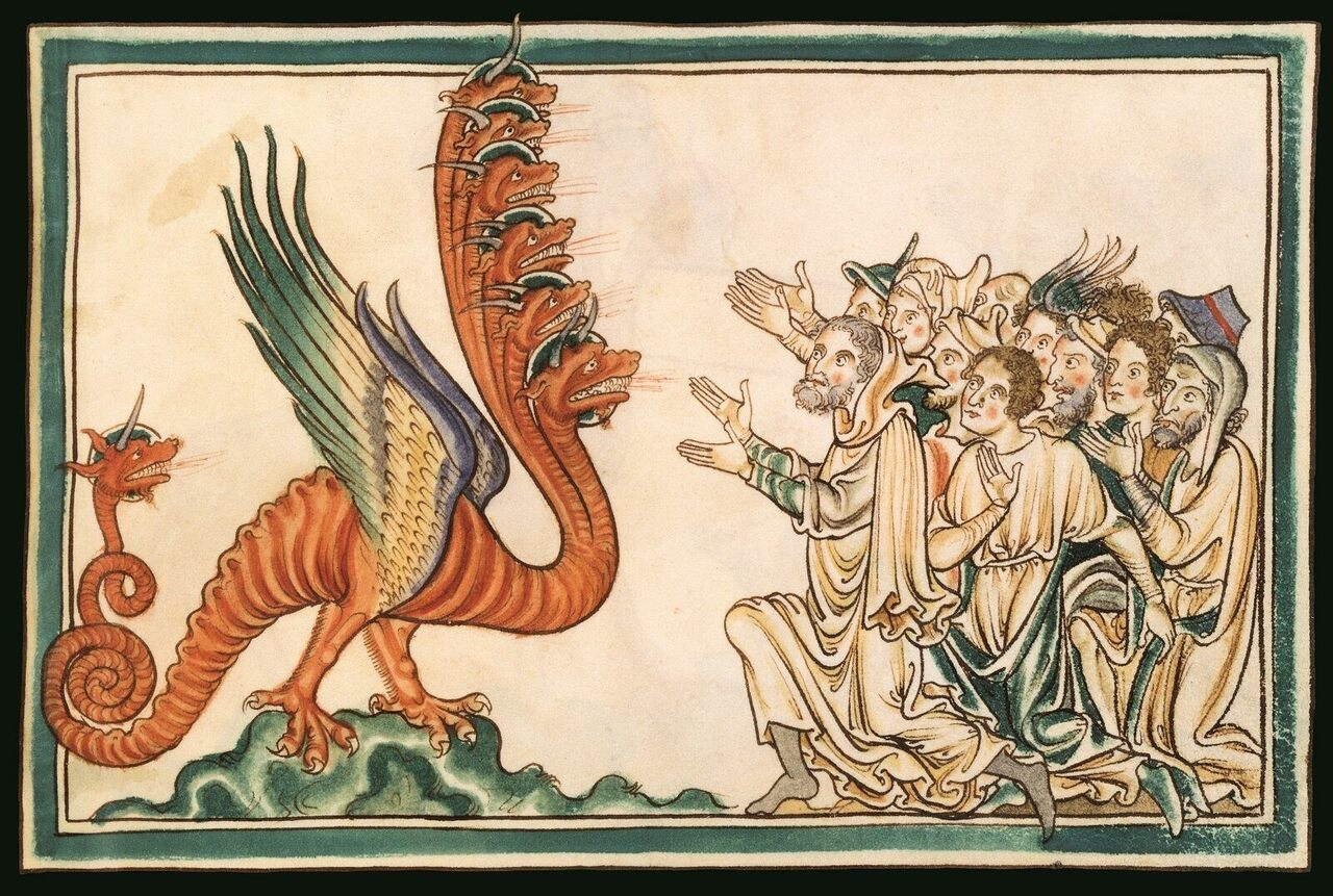 <em>The Adoration of the Dragon of the Apocalypse</em>, Folio 23, New Testament, Glossed, Salisbury, c. 1250.