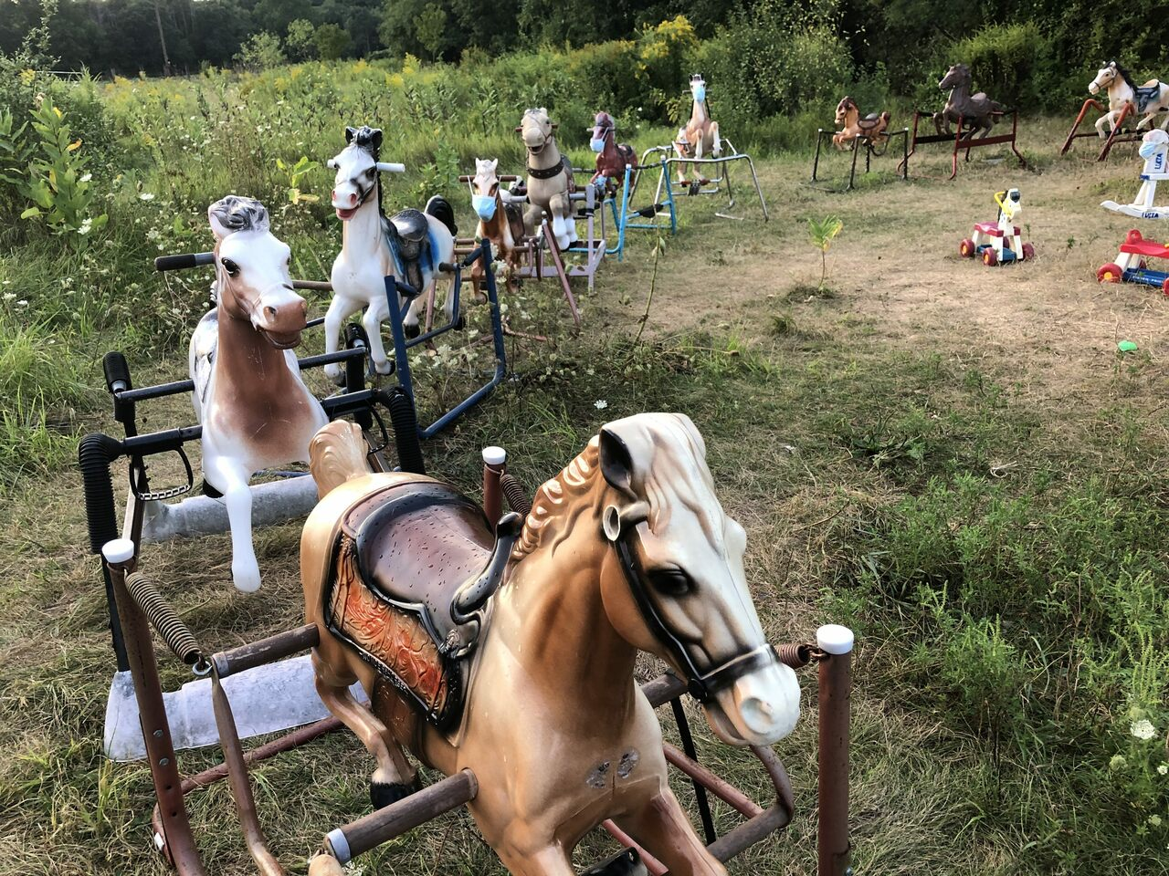 Toy horses can mask and social distance, too.