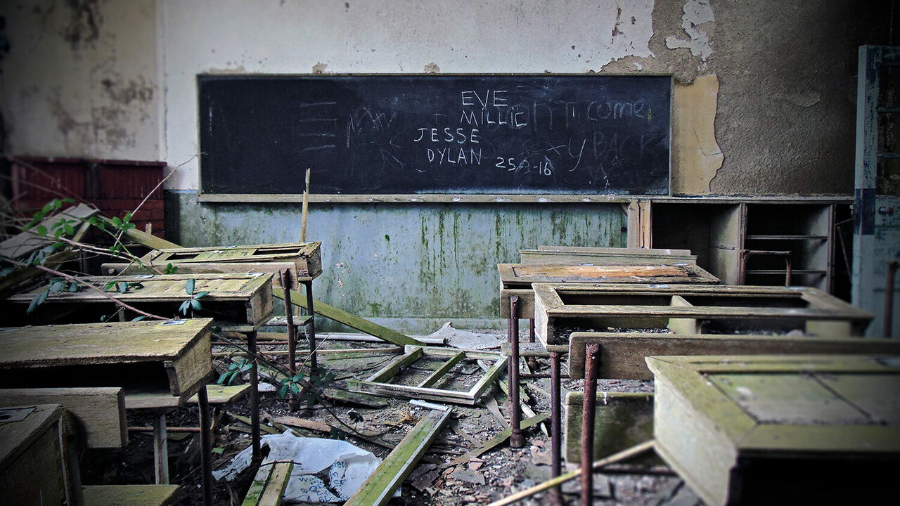An old classroom in Latton National School, County Monaghan.