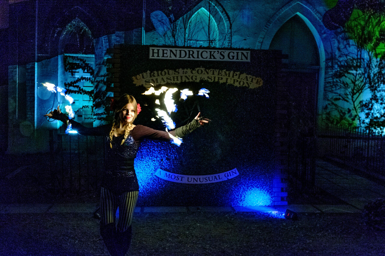 Fire dancer Lydia Lux's pyromaniacal performance captivated despite the cold.