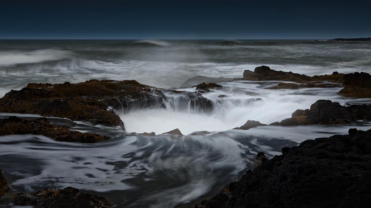A sinkhole, Thor's Well, swallows the sea off the Oregon coast.
