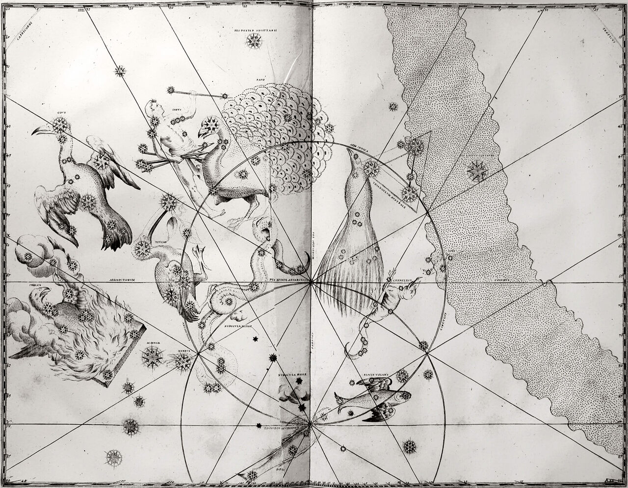Chart 49. A print of the copperplate engraving of Johann Bayer's 1661 edition of <em>Uranometria</em>, which depicts 12 new constellations.