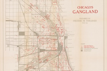 This map of Chicago's gangs was tucked away in the back pocket of Frederic Thrasher's 1927 book <em>The Gang: A Study of 1,313 Gangs in Chicago.</em>