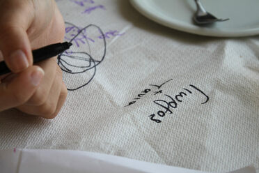 Napkins will gladly hold whatever threatens to spill over, whether that's a dribble, a scribble, or a full-fledged poem.