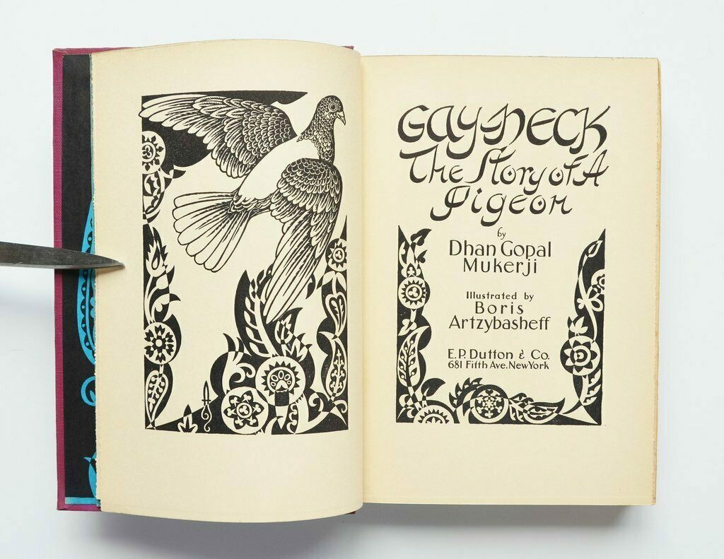 The title pages of <em>Gay-Neck, the Story of a Pigeon</em>, by Dhan Gopal Mukerji, with illustrations by Boris Artzybasheff.
