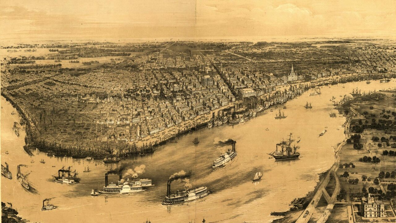 A bird's eye view of New Orleans from 1851.