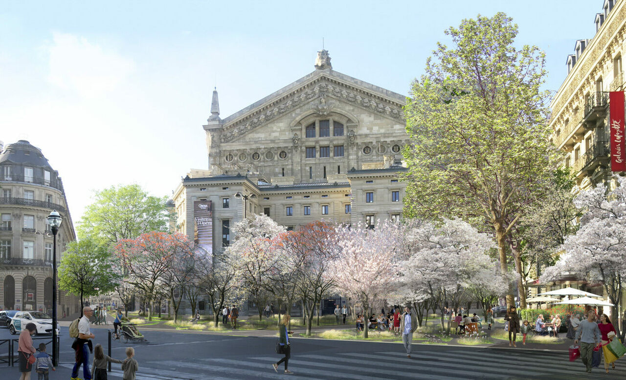 A rendering of the Palais Garnier shows what the opera house will look like when it's ensconced in a grove.