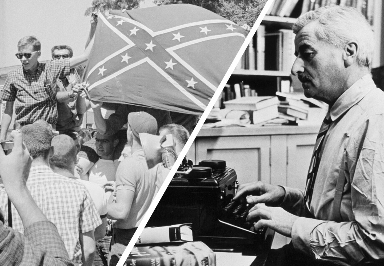 Anti-integration University of Mississippi students hold up a Confederate flag in 1962 (left); William Faulkner working at his typewriter at his home in Oxford (right).