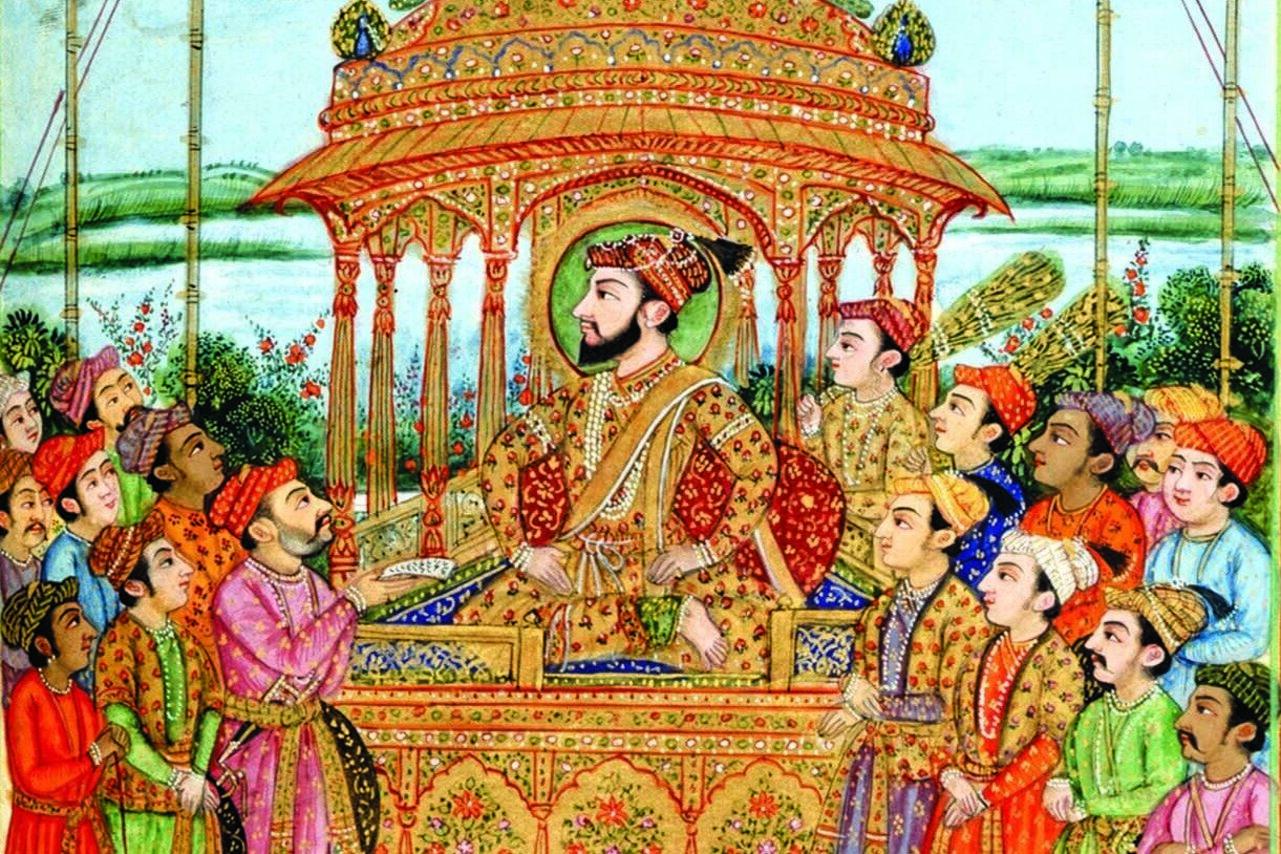 Shah Jahan on the Peacock Throne at Delhi receiving deputations.