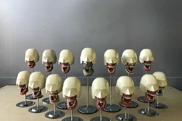 A collection of dental mannequins.