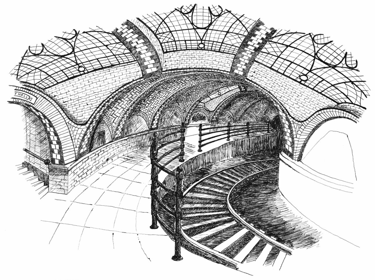 The old City Hall station has narrow, curving tracks.